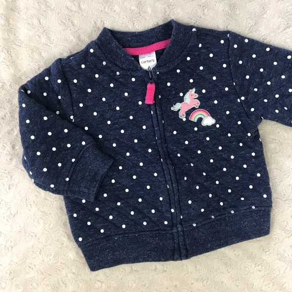 Carter's Quilted Unicorn Jacket Blue Rainbow 6M